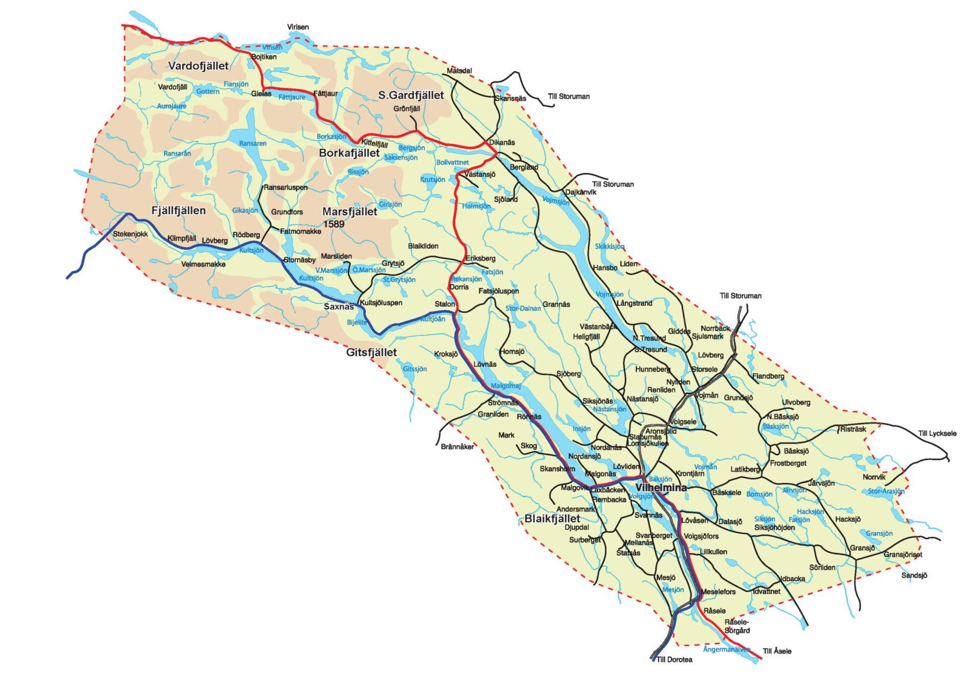 Karta över Vilhelmina Kommun