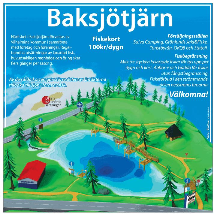 Fiska i Vilhelmina Baksjötjärn översiktsbild.