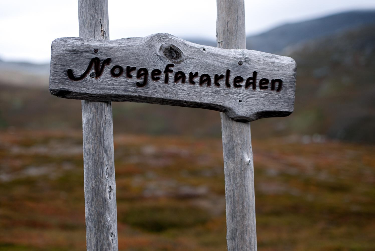 Skylt Norgefararleden